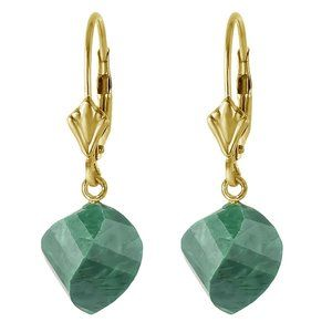 14K. SOLID GOLD  EARRINGS  WITH TWISTED EMERALDS